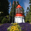 Triangle Lighthouse at Sooke Museum on Vancouver Island. This Canadian lighthouse was retired and moved to Sooke as a national historic monument.