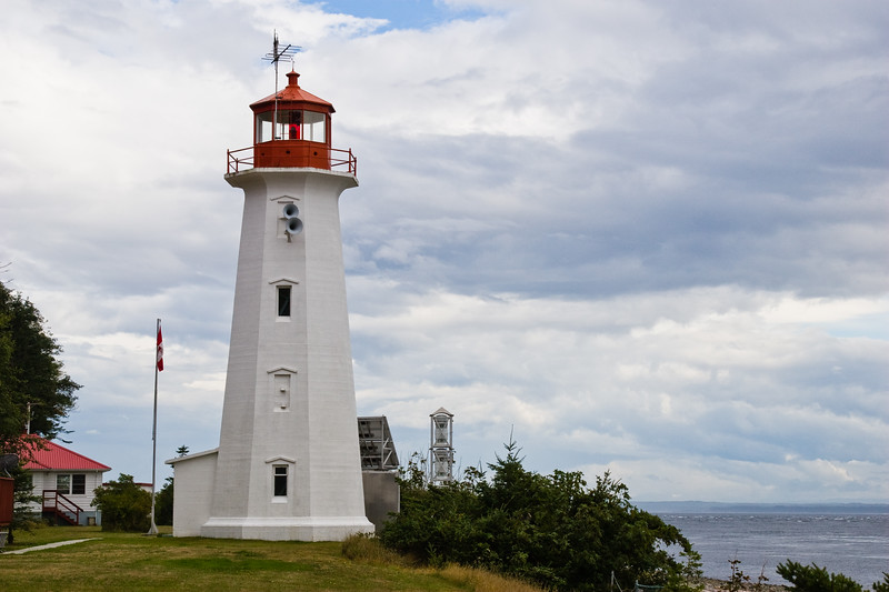 """Cape Mudge Lighthouse on Quadra Island, just across from Campbell River. Active lighthouse built in 1898. Staffed. The lighthouse marks the entrance from the broad Strait of Georgia to the Discovery Passage (the narrow first section of the famous """"inside passage"""") Maintained by Canadian Coast Guard."""