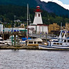 Maritime Discovery Center Lighthouse and boat docks at Port Alberni harbour, on Vancouver Island in British Columbia.