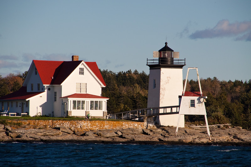 Hendricks Head Lighthouse on the western side of Southport Island, on the Sheepscot River in Maine, was established in 1829. It was rebuilt in 1875, and was decommissioned and sold in 1935. However, in 1951, when electricity reached the area, the private owners of the lighthouse and quarters allowed the Coast Guard to automate and recommision the light.