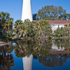 St. Mark's Lighthouse, located in the St. Marks National Wildlife Refuge on the Gulf Coast of Florida. St. Marks was a prominent Spanish town of the early 1800's. A lighthouse was first built here in 1831, and then moved and rebuilt in 1840 when erosion threatened. During the Civil War the tower sustained tremendous damage, with a full one third of its base blasted away. The tower did not collapse, was reconstructed and relit in 1867. The lens in the 73 foot tower was originally a fourth-order, is now a fifth-order.