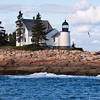 Winter Harbor Lighthouse is located on Mark Island, near Winter Harbor, on the west side of the Schoodic Peninsula, near the entrance to Frenchman Bay, on the Altlantic coast north of Mount Desert Island, was established in 1857. It is presently privately owned.