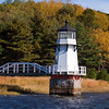Doubling Point Lighthouse on the Kennebec River across from the historic shipbuilding town of Bath, Maine, was established in 1898. Automated in 1988, the lighthouse is still an active aid to navigation.