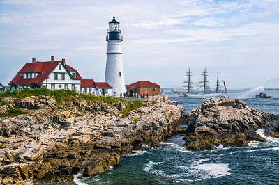USCG Barque Eagle Passing Portland Head Light