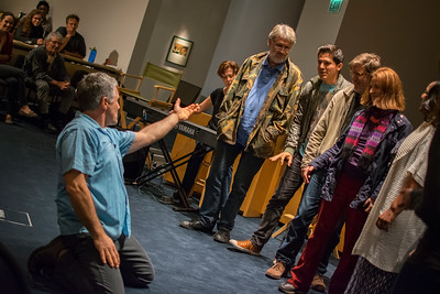 Rick Hall conducts an improvised group song at SAG-AFTRA Next Gen Performers' Musical Improv event with Rick and Laura Hall.