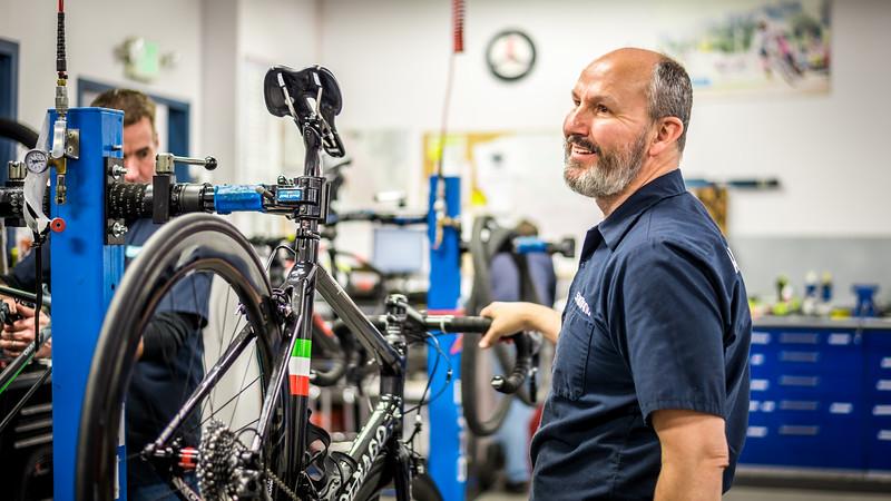 An expirienced bicycle mechanic