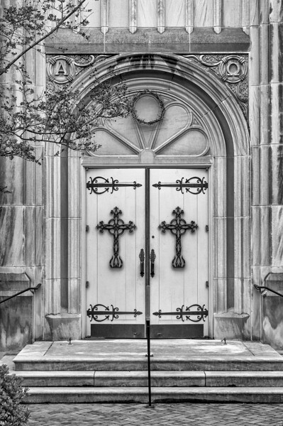 Door with crown of thorns