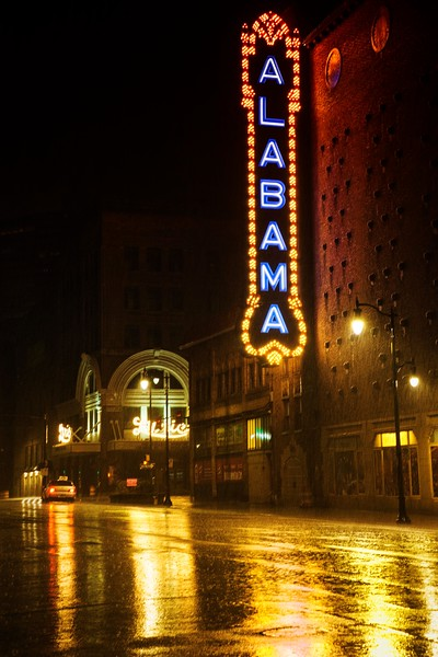 Theatre district on a rainy night