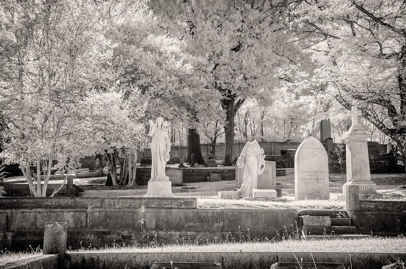 Memorials at Oak Hill cemetery in infrared black and white