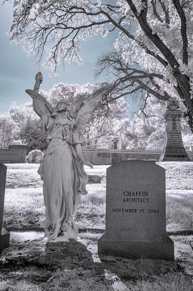 Architect's memorial marker in infrared color