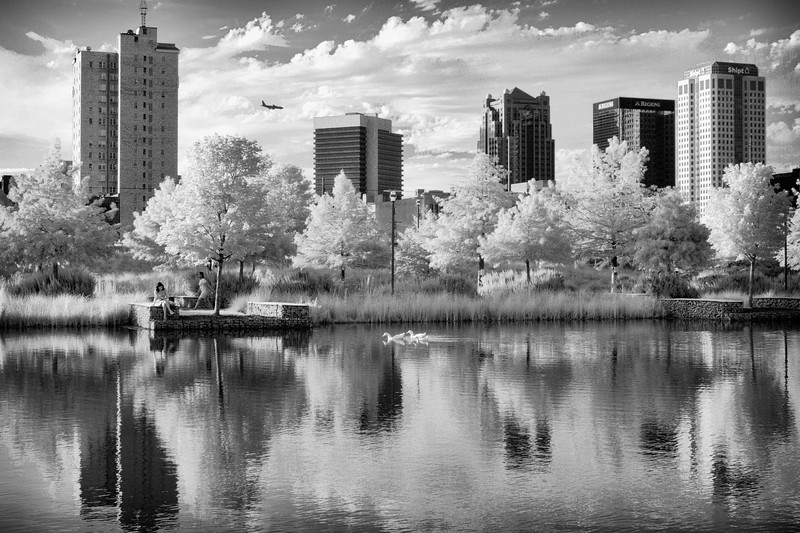 Railroad Park Skyline in infrared black and white