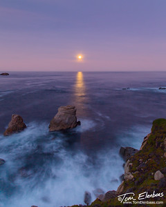 Moonset at Garapata Beach on the Big Sur Coast