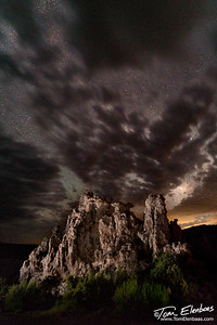 The night sky appears to erupt fom the tufa at Mono Lake