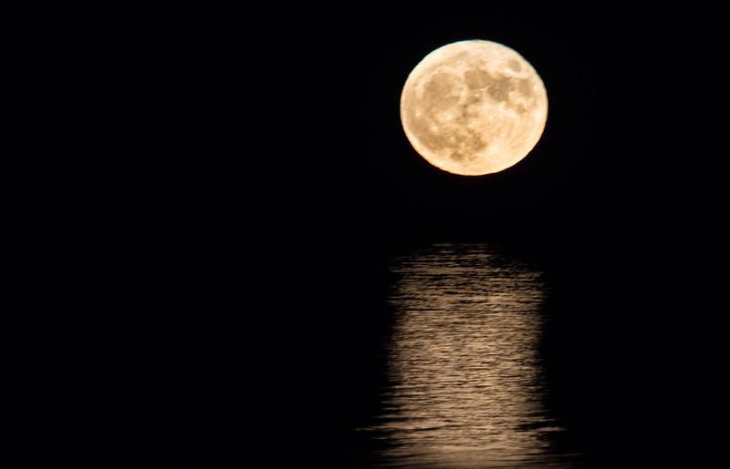 Super Moon Rising across Casco Bay