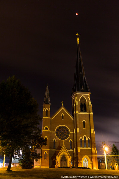 Super Moon Full Eclipse over the Cathedral of the Immaculate Conception
