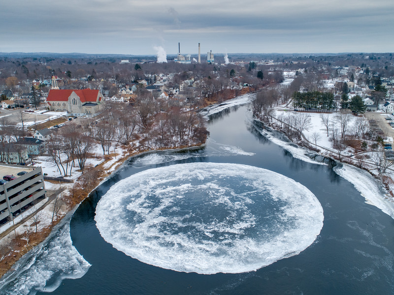 Mysterious Ice Disk in Westbrook