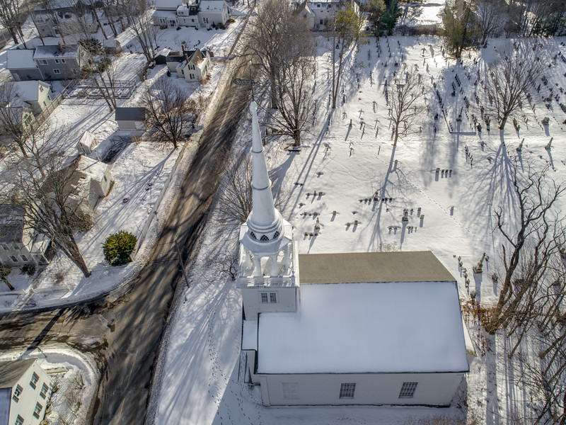 Aerial Winter View of the Yarmouth Old Meeting House