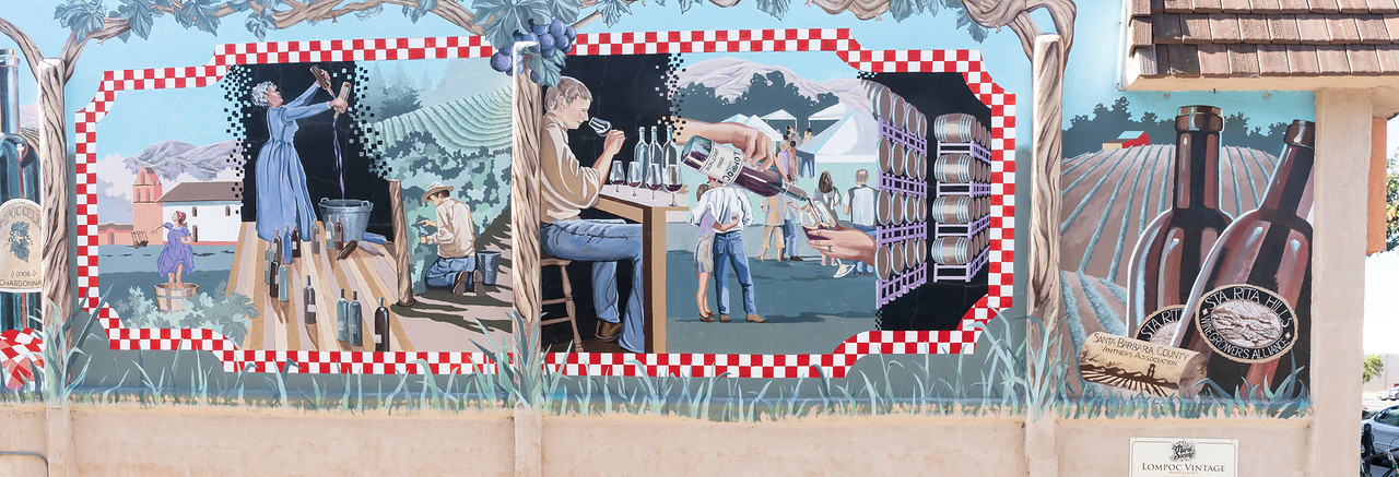 """Lompoc Vintage"" is a 2008 mural on the side of a very long building"