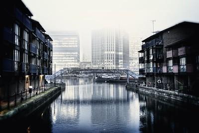 Foggy Canary Wharf from the docks