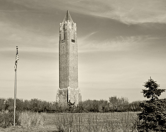 Jones Beach tower in sepia