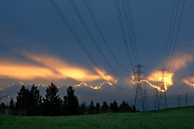 Power lines and sunset, Fremont, CA