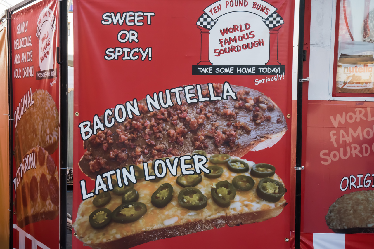 Sign for bacon and Nutella at Los Angeles County Fair