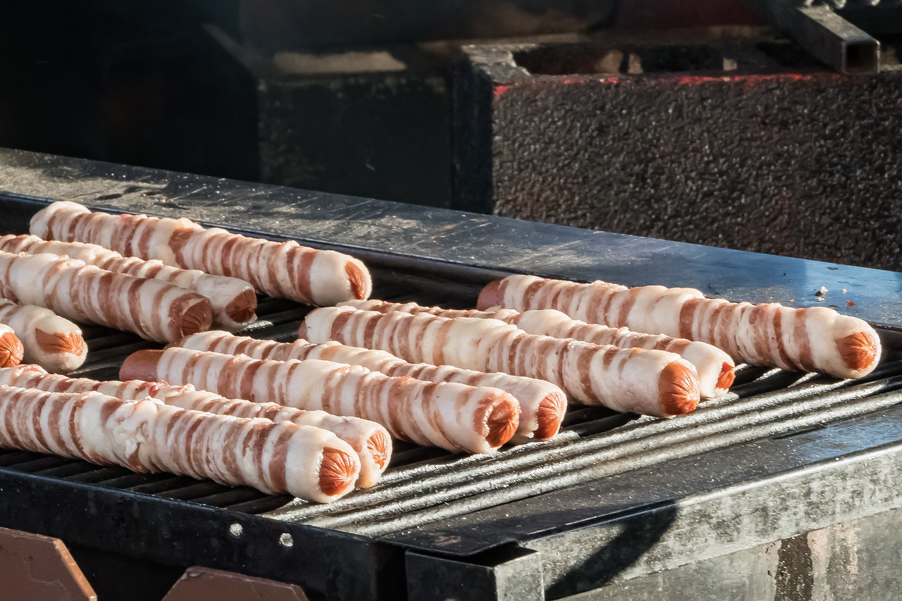 Bacon wrapped sausage at the Los Angeles County Fair