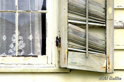 "©Al Gallia; ""Inner Beauty""; Old lace curtain in weathered window of historic Acadian home in Vermilionville Cajun/Creole Heritage Park, Lafayette, Louisiana."