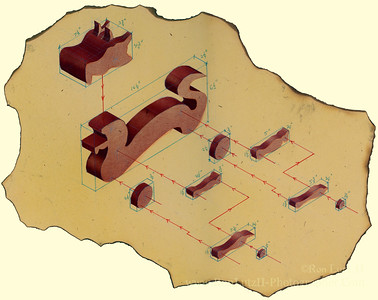 1987 - Wooden Push Toy Hand Drawn 3-Quarter Exploded View
