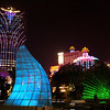MACAU. SKYLINE AT NIGHT WITH GRAND LISBOA HOTEL AND CASINO.
