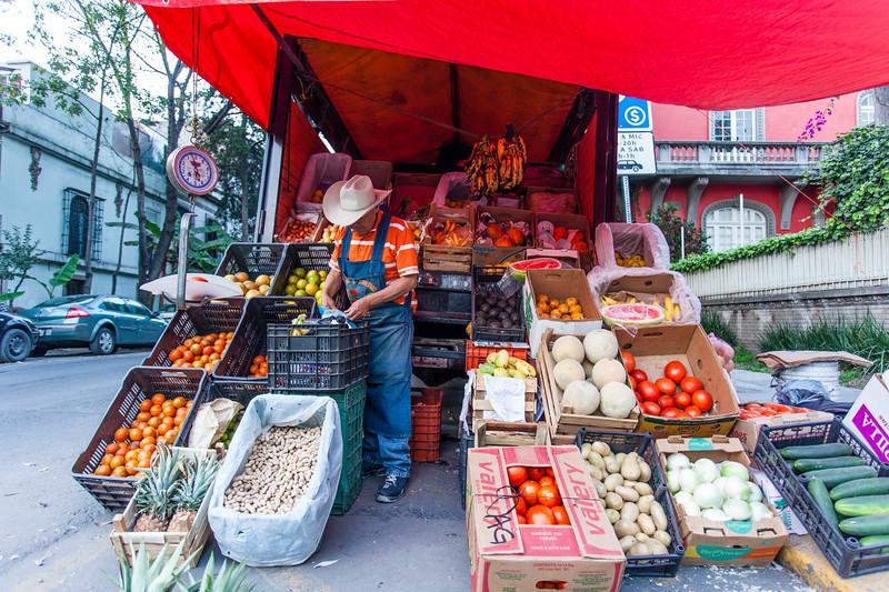 MEXICO CITY. LA CONDESA. FRUIT SELLER.