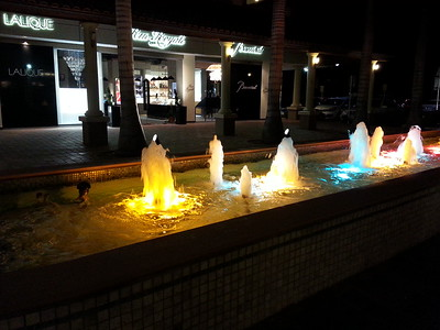 Night lights in the fountain at the Mall in Aruba...May 2014.