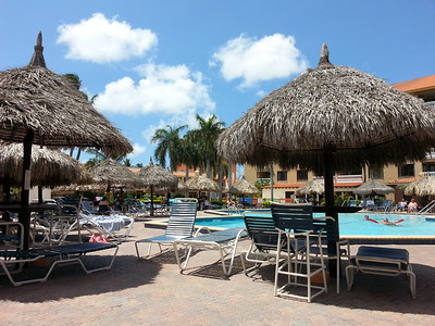 Our beautiful pool at Casa Del Mar, Aruba...on the rare occasion we drag ourselves away from the beach...Msy 2014.