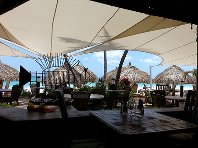 The best view one could ask for at lunchtime...Matthew's Bar Aruba...May 2014.
