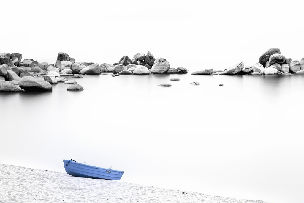 Blue Boat, White Sand