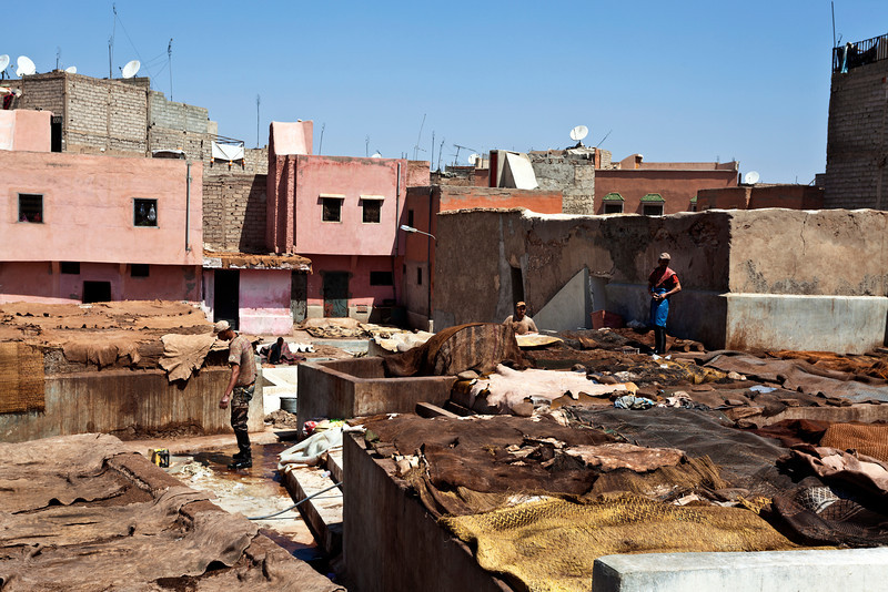 MARRAKESH. TANNERIES IN THE OLD MEDINA.