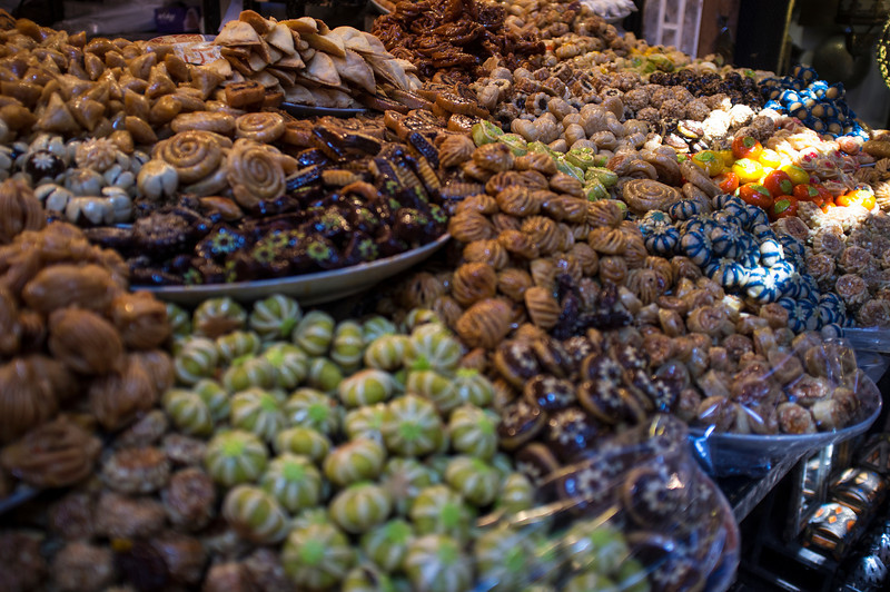 MARRAKECH. MOROCCAN SWEETS ON A MARKET.