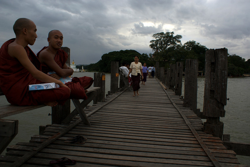U Bein's Bridge. Amarapura. The longest teak wood bridge in the world. Mandalay Division. Myanmar | Burma
