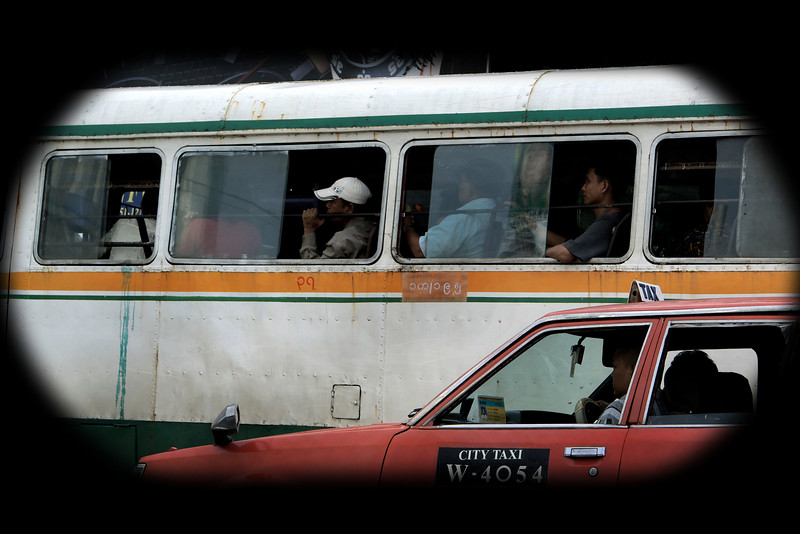 TRANSPORT IN YANGON. BUS AND CITY TAXI.