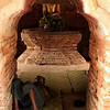 INWA. BURMESE MAN SLEEPING IN A SMALL TEMPLE. MANDALAY DIVISION. BURMA. MYANMAR.