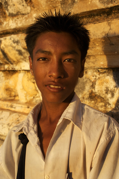 Portrait of Aung Aung at the Schwesandaw Paya during the  Sunset of 12th of July 2009.