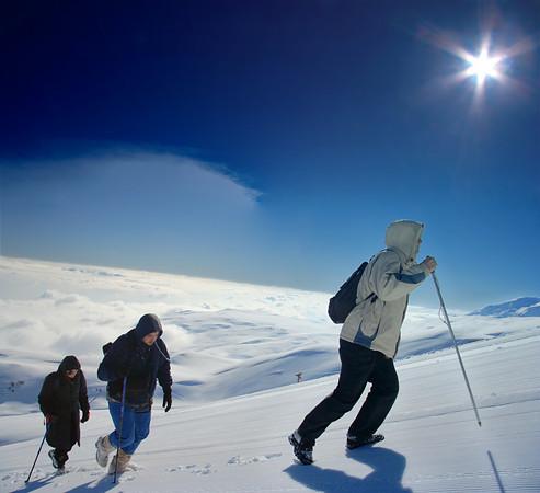 Climbing expedition going towards Titov vrv peak on Sar Planina mountain, Macedonia