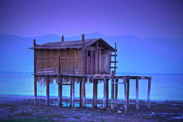 Fishing hut in Dojran, Macedonia at dawn