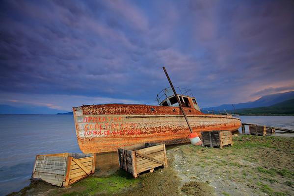 Sunk ship in Prespa region, Macedonia