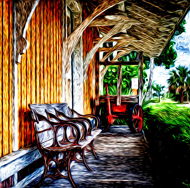 Waiting on the Train<br /> A painterly version of my HDR image of the old Delray Beach, FL trainstation, now a historical landmark.