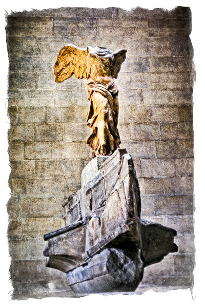 "Winged Victory of Samothrace - Musée du Louvre, Paris  <br /> The Nike of Samothrace, discovered in 1863, is estimated to have been created around 190 BC.  It was created to not only honor the goddess, Nike, but to honor a sea battle. It conveys a sense of action and triumph as well as portraying artful flowing drapery through its features which the Greeks considered ideal beauty.<br /> <br /> Modern excavations suggest that the Victory occupied a niche in an open-air theater and also suggest it accompanied an altar that was within view of the ship monument of Demetrius I Poliorcetes (337–283 BC). Rendered in white Parian marble, the figure originally formed part of the Samothrace temple complex dedicated to the Great gods, Megaloi Theoi. It stood on a rostral pedestal of gray marble from Lartos representing the prow of a ship (most likely a trihemiolia), and represents the goddess as she descends from the skies to the triumphant fleet. Before she lost her arms, which have never been recovered, Nike's right arm was raised, cupped round her mouth to deliver the shout of Victory. The work is notable for its convincing rendering of a pose where violent motion and sudden stillness meet, for its graceful balance and for the rendering of the figure's draped garments, compellingly depicted as if rippling in a strong sea breeze.  Nike of Samothrace is seen as an iconic depiction of triumphant spirit and of the divine momentarily coming face to face with man. It is possible, however, that the power of the work is enhanced by the very fact that the head is missing.<br /> <br /> The statue's outstretched right wing is a symmetric plaster version of the original left one. As with the arms, the figure's head has never been found, but various other fragments have since been found: in 1950, a team led by Karl Lehmann unearthed the missing right hand of the Louvre's Winged Victory. The fingerless hand had slid out of sight under a large rock, near where the statue had originally stood; on the return trip home, Dr Phyllis Williams Lehmann identified the tip of the Goddess's ring finger and her thumb in a storage drawer at the Kunsthistorisches Museum, Vienna, where the second Winged Victory is displayed; the fragments have been reunited with the hand, which is now in a glass case in the Louvre next to the podium on which the statue stands.<br /> <br /> The statue now stands over a supplementary platform over the prow that allows a better contemplation but was not present in the original. The different degree of finishing of the sides has led scholars to think that it was intended to be seen from three-quarters on the left.<br /> <br /> A partial inscription on the base of the statue includes the word ""Rhodios"" (Rhodian), indicating that the statue was commissioned to celebrate a naval victory by Rhodes, at that time the most powerful maritime state in the Aegean. [From ""Wikipedia.""]"