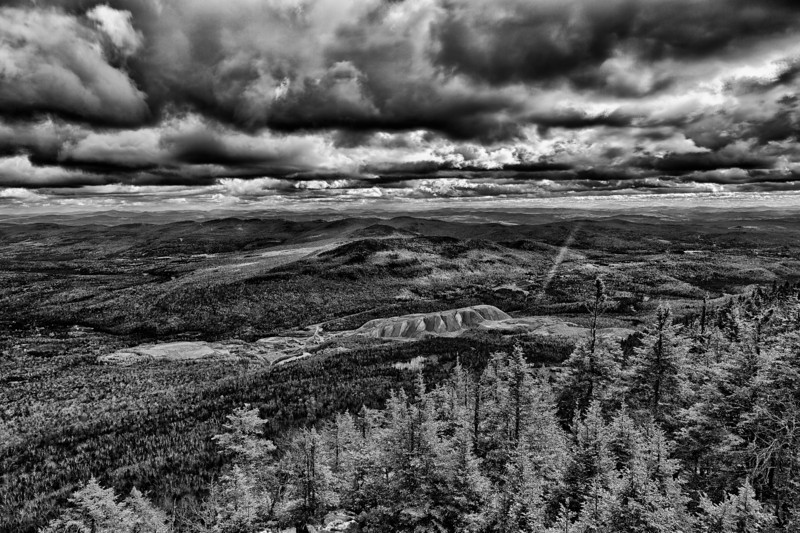 Asbestos Mine from the Fire Tower, black and white - Belvidere, VT