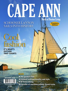 For our premiere edition of Cape Ann Magazine we wanted the classic Gloucester look a schooner sailing in Gloucester  Harbor with the Paint Factory in the background.