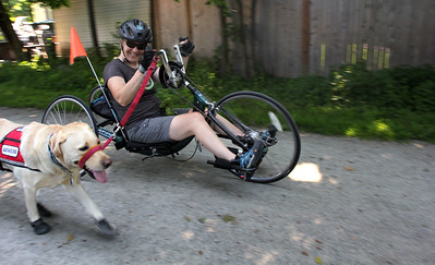Chris Slavin rides on her bike with her service dog Earle down the bike trail in Danvers. Amy Sweeney staff photo Juy 3, 2018