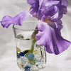 Purple Iris flower in glass vase in morning light. (Cat Rooney/Epoch Times)